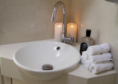 Luxurious bathroom in boutique Elevate Yoga studio